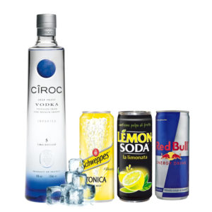 Vodka Ciroc, lemon, tonica e redbull