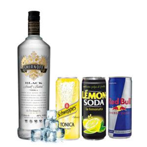Smirnoff Black, lemon, tonica e redbull